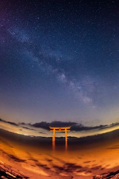 Torii gate of Shirahige shrine at Lake Biwa, Japan