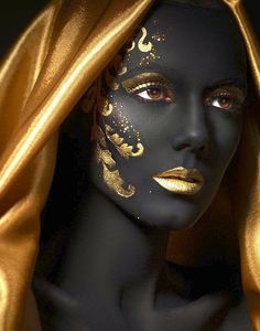 Black and gold portrait.
