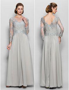A-Line Scoop Neck Floor Length Chiffon   Lace Mother of the Bride Dress  with Appliques by LAN TING BRIDE®   Sparkle   Shine ff3e9c959d0d