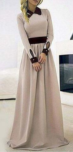 contrast collared maxi
