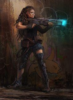Soldier with cybernetic enhancements, cyberpunk / sci-fi inspiration Cyberpunk Girl, Arte Cyberpunk, Space Fantasy, Sci Fi Fantasy, Character Portraits, Character Art, Science Fiction, Sci Fi Kunst, Space Opera