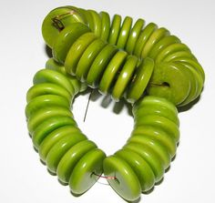 25 Lime Green Tagua Nut Beads 15mm Rondell Beads by EcoBeadsTagua, $5 ...