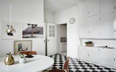 Cocina con suelo en blanco y negro ¿Te atreves?