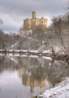Warkworth Castle Snowy Reflections, Northumberland, UK