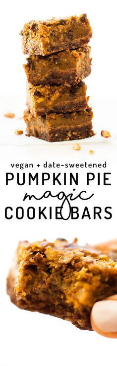 Your favorite fall pie meets gooey cookie goodness in these Pumpkin Pie Magic Cookie Bars with pecan crust, spiced filling, and lots of chocolate chips! via Feasting on Fruit Dessert Sans Gluten, Low Carb Dessert, Vegan Dessert Recipes, Vegan Sweets, Whole Food Recipes, Cooking Recipes, Dessert Bars, Healthy Sweets, Weight Watcher Desserts