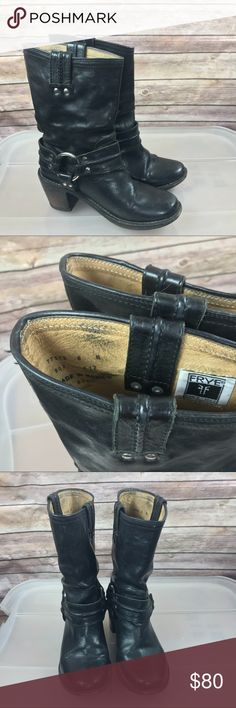 FRYE  Carmen Harness Short  motorcycle boots FRYE 77372 Carmen Harness Short black Leather womens motorcycle boots size 6 heel is worn. Signs of wear. Please see photos for details. Frye Shoes Combat & Moto Boots