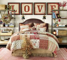 Why not go all-out decorating your bedroom for the holidays? Swap your bedding for a red quilt, and bring in a wreath or petite tree. Voila!