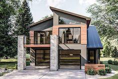 Modern 2 Car Garage with Apartment Small Modern House Plans, Modern Garage, Tiny House Plans, Small Modern House Exterior, Contemporary Farmhouse Exterior, Modern Glass House, Modern Farmhouse, Container House Design, Tiny House Design