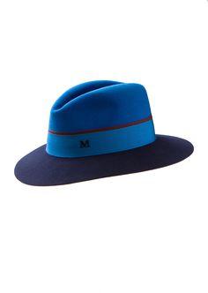 Maison Michel Hats :: Maison Michel navy and azure blue Henrietta felt hat | Montaigne Market
