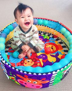 Playgro Brand Rep Tyler having a ball in our Ball Activity Nest