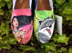 CUSTOM disney Princess shoes. $125.00, via Etsy. & POCAHONTAS!!!! MY FAVORITE