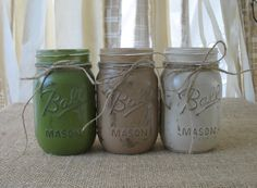 Mason Jars, Painted Mason Jars, Home Decor Vases, Rustic Home Decor, French Country Decor, Housewarming Gift