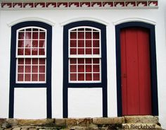 Red and blue door in Parati, Brazil