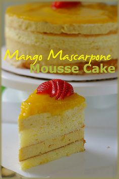 Mango Mascarpone Mousse Cake...I've been wanting to make this for oh I think 3 years+.Every year when mangoes are in season here in SoCal,I think about this cake...maybe this year...gotta check if the Knox gelatin is still good!LOL I bought it last year.....