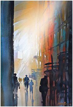 """light at the sagrada familia - barcelona"" thomas w schaller watercolor 24x18 inches 29 june 2014"