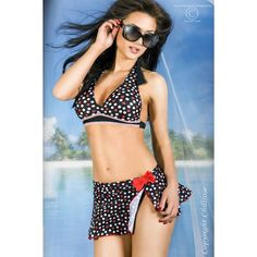 This 3 piece bikini set comprises of a soft padded halterneck bra, black with red & white polka dots. Which ties at the neck and back. Padding can be removed if required. It has plain black briefs and a matching skirt makes it an ideal cover up for the beach bar.