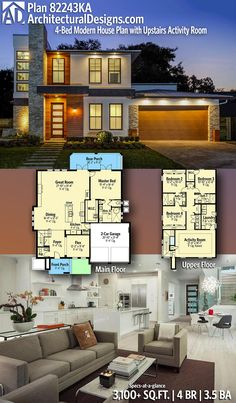 Modern House Plans : Architectural Designs Modern House Plan gives you 5 beds 5 baths and Sims House Plans, Dream House Plans, Modern House Plans, House Floor Plans, Sims House Design, Modern House Design, Architectural Design House Plans, Architecture Design, Casas The Sims 4