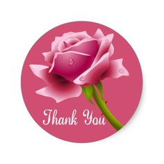 Shop Thank You Pink Rose Thank You Pink Sticker / Seal created by merrybrides.