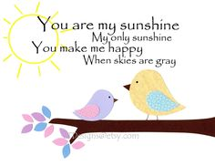 Kids Wall Art, Baby Girl, Children's Room Decor, Lavender, Pink, Yellow, Birds, You are My Sunshine, 8x10 Art Print. $14.00, via Etsy.