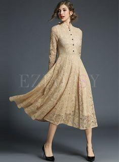 Shop Khaki Party Lace Stand Collar Skater Dress at EZPOPSY. Vintage Dresses, Nice Dresses, Vintage Outfits, Mom Dress, Dress Up, Dress Long, Modelos Fashion, Lace Evening Dresses, Lace Midi Dress