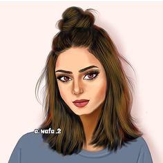 AYSUN🌙 Cute Girl Drawing, Cartoon Girl Drawing, Cartoon Art, Best Friend Drawings, Girly Drawings, Sarra Art, Chica Cool, Girly M, Girl Sketch