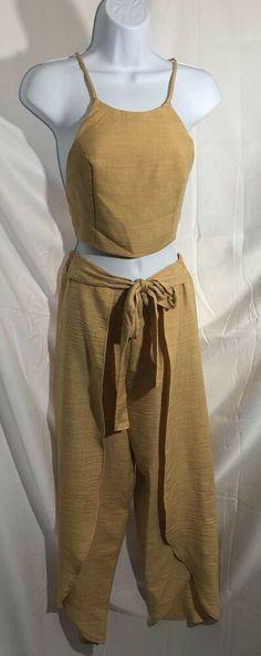 6c3253a416cb Two Piece Women Crop Top Pant Romper Linen Beach Wear NWOT Lounge Jumpsuit  Sz Sm