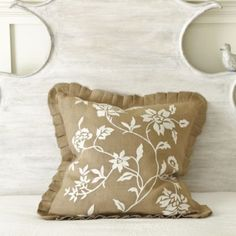 26 inch Fleur d'Ivoire Embroidered Euro Sham  | Ballard Design...replace your sofa cushions!