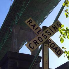Underneath Saint Johns Bridge - Railroad Crossing #saintjohnsbridge #cathedralcitypark #railroadcrossing #sign #bridge #underneath #portland #portlandoregon #pnw #portlandnw
