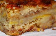 Receita de Torta de Banana - 8 bananas, 3 colheres de manteiga, 1 colher de fermento, 12 colheres (sopa) de farinha de trigo, 10 colheres (sopa) de açúcar,...