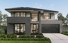 Long Island Homes are multiple award winner New Home Builders in Melbourne. Choose Melbourne's best new house builders to design your dream home. Modern Exterior House Designs, Modern House Facades, Dream House Exterior, Modern House Design, 2 Storey House Design, Duplex House Design, House Front Design, Contemporary House Plans, Modern House Plans