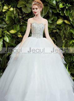 Ball Gown Diamonds Sweetheart Bra Princess Floor-Length Bridal Wedding Dress