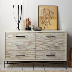 Wood Tiled 6-Drawer