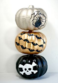 Spray Painted Pumpkins from the Dollar Store Topiary