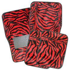 Safari Zebra Red Car 4-piece Floor Mats