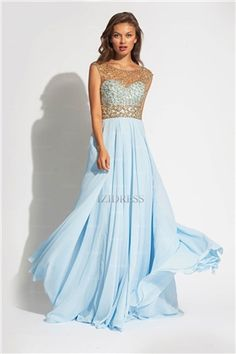 A-line Scoop Beading Sleeveless Floor-length Chiffon Prom Dresses   Evening  Dresses - 514491a104f5