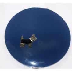 Blue Rhinestone Scottie Dog Compact