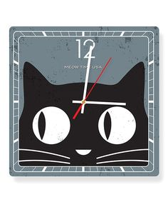 Another great find on #zulily! Big Eyes Cat 'Meow Time USA' Square Clock #zulilyfinds