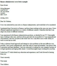 Marvelous Finance Administrator Cover Letter Example