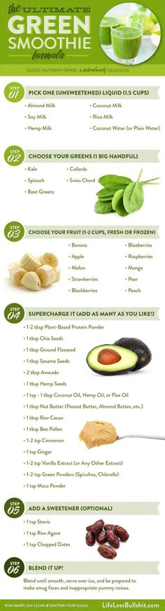 Healthy Smoothies Recipe the ultimate green smoothie formula to detox and lose weight via lifelessbullshit - Look for juicing recipes to detox your body? Try these fresh and simple juice and smoothie recipes made from whole fruits and vegetables! Smoothie Legume, Smoothies Vegan, Green Smoothie Recipes, Juice Smoothie, Smoothie Drinks, Fruit Smoothies, Detox Drinks, Smoothie Chart, Detox Juices
