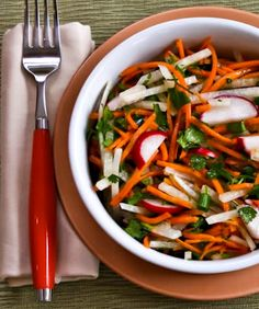 Jicama and Carrot Slaw with Radishes, Cilantro, and Cumin-Lime Vinaigrette from KalynsKitchen.com