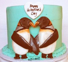 Heart-center, penguin Valentine's Day fondant decoration by Mili's Sweets
