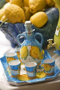 The Amalfi area of Italy is famous for its production of lemons – and for the limoncello liqueur >>>Have you had Limoncello? It's fantastic!