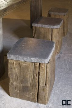 wood and stone stools.