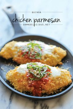 Quinoa Chicken Parmesan - With an amazingly crisp quinoa crust this recipe is actually healthy!