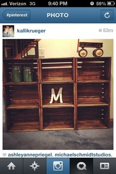 Can get crates from Michaels then stain/paint whatever color you want-would make cute bookshelf for boys room or DVD storage...could even add doors....oh the possibilities!