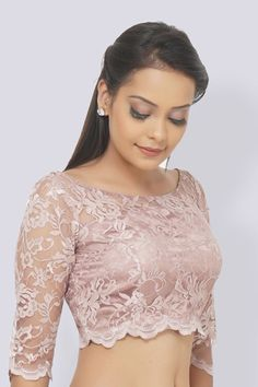 57bea4f075 Padded Pastel Mauve Chandelier Net Blouse With Scallop. Look glamorous in  this beautiful pastel mauve