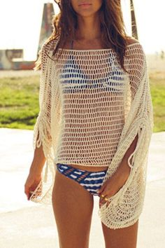 »Crocheted Loose Fitting Hollow Out Cover Up« #crochet #fashion #fashionandaccessories #zaful