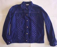 Purple Denim Rhinestone Jean Jacket Medium Embroidered Pattern USA Made Vtg Coat #SaintGermainParis #JeanJacket