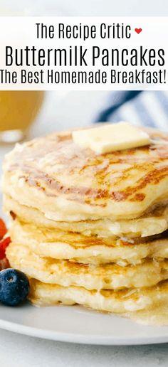 Best Pancake Recipe Fluffy, Homemade Buttermilk Pancakes, Buttermilk Recipes, Homemade Breakfast, Homemade Pancake Recipes, Buttermilk Syrup, Breakfast Pancakes, Breakfast Dessert, Breakfast Dishes