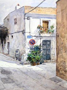 Carrer Magatzem - Badalona Landscape Drawings, Watercolor Landscape, Watercolour Painting, Art Drawings, Watercolor Japan, Canson, Art Aquarelle, Arte Popular, Urban Sketchers